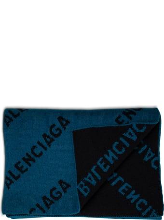 Balenciaga Petrol-colored Organic Wool Scarf With Allover Logo