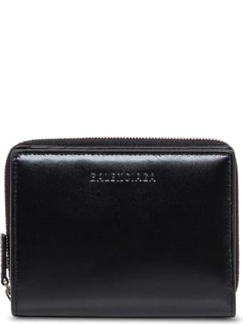 Balenciaga Black Leather Bifold Wallet With Logo