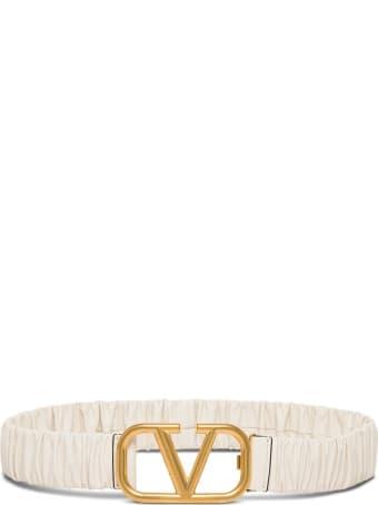 Valentino Garavani Vlogo Elastic Belt In White Leather