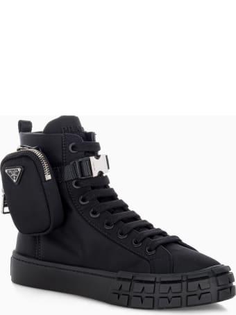Prada Wheel Re-nylon Gabardine High-top Sneakers