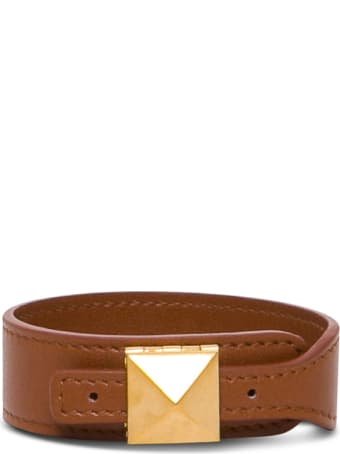 Valentino Garavani Brown Leather Bracelet With Stud Detail