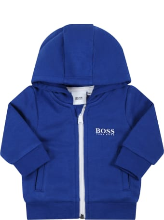 Hugo Boss Blue Suit For Baby Boy With White Logo