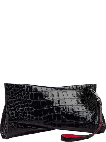 Christian Louboutin Black Cocco Printed Leather Loubitwist Clutch Bag
