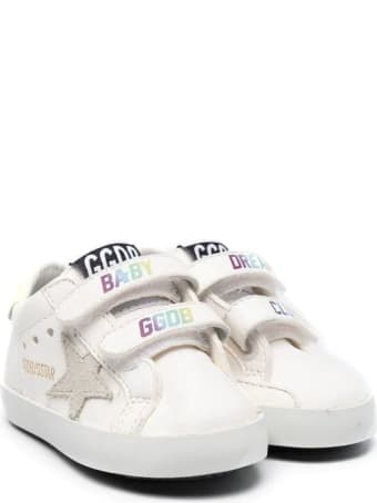 Golden Goose Newborn White Super-star Sneakers With Multicolor Baby Ggdb Print