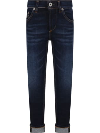 Dondup Blue ''ritchie'' Jeans For Boy With Iconic D