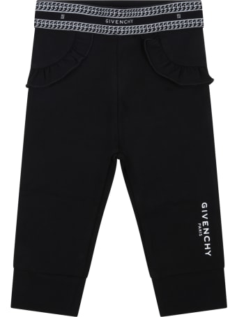 Givenchy Black Leggings For Baby Girl With Logo