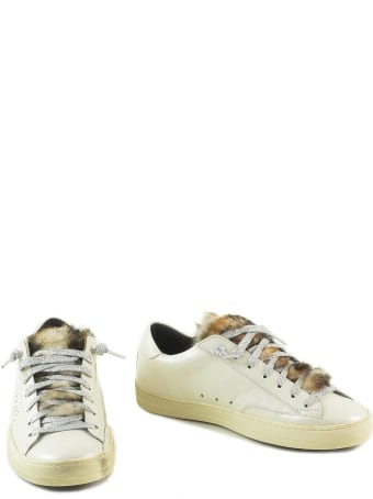 P448 White Leather And Eco-fur Women's Flat Sneakers