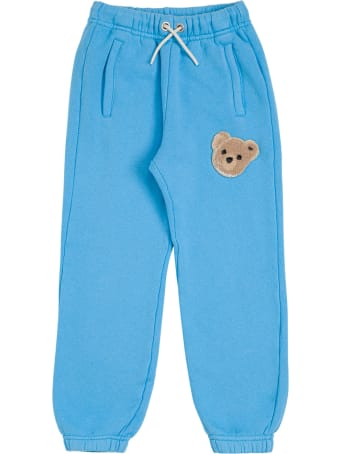 Palm Angels Light Blue Cotton Joggers With Teddy Bear Logo