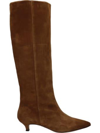Alchimia Low Heels Boots In Brown Suede