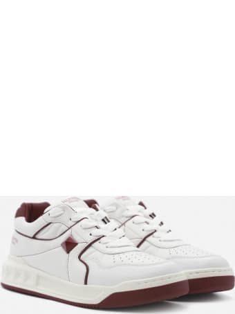 Valentino Garavani One Stud Leather Sneakers With Contrasting Inserts