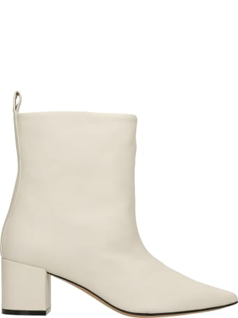 Marc Ellis Rivabella High Heels Ankle Boots In Beige Leather