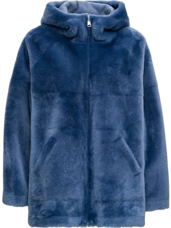 Blancha Reversible Light Blue Leather And Wool Fur