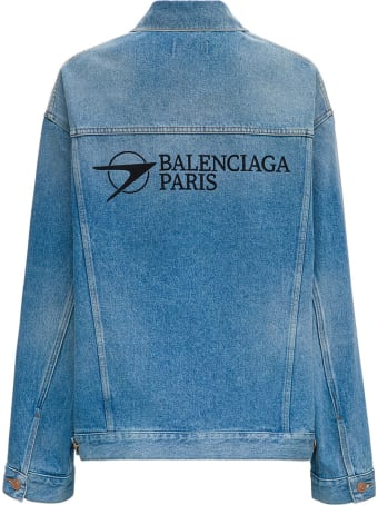 Balenciaga Large Denim Jacket With Logo