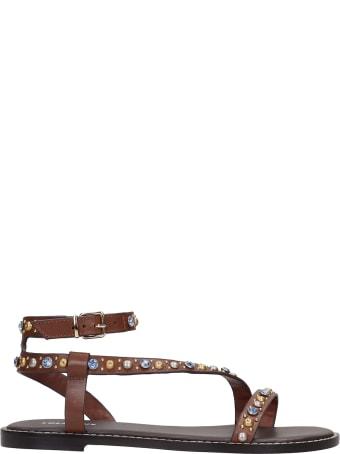 Lola Cruz Flats In Brown Leather