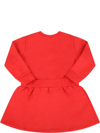 MSGM Red Dress For Baby Girl With Logo