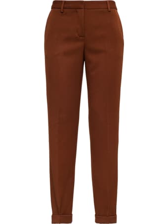 Tonello Brown Tailored Pants In Viscose Blend