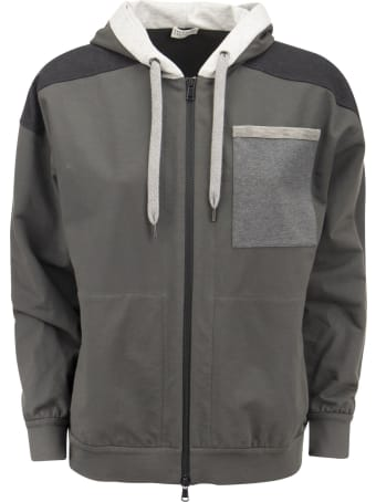 Brunello Cucinelli Paneled Topwear In Light Stretch Cotton Fleece With Hood And 'shiny Patch Pocket'.