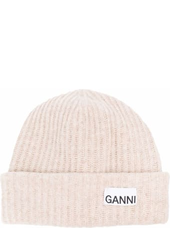 Ganni Beige Recycled Woo Hat With Logo