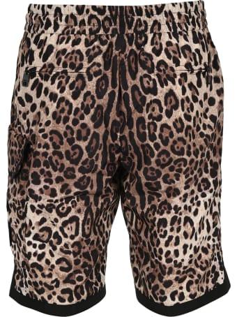Dolce & Gabbana Dolce&gabbana Leopard-print Nylon Shorts With Dg Patch