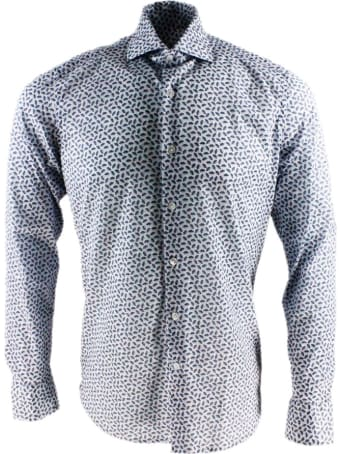 Sonrisa Luxury Shirt In Soft, Precious And Very Fine Stretch Cotton Flower With French Collar In Two-tone Circles Print