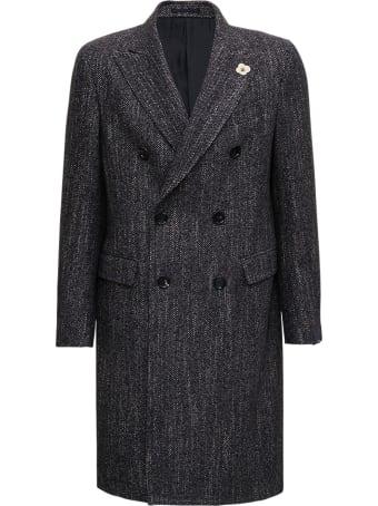 Lardini Double-breasted Grey Wool Blend Coat