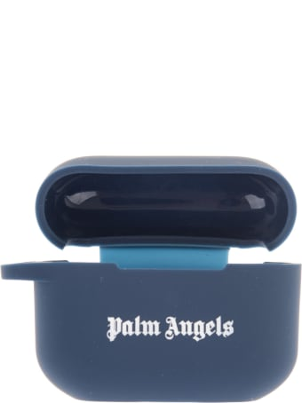 Palm Angels Blue Airpods Pro Case With White Logo
