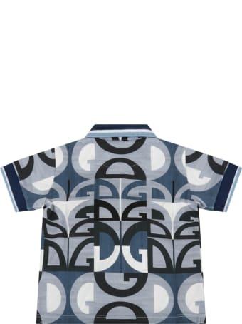Dolce & Gabbana Light Blue Polo Shirt For Babyboy With Logos