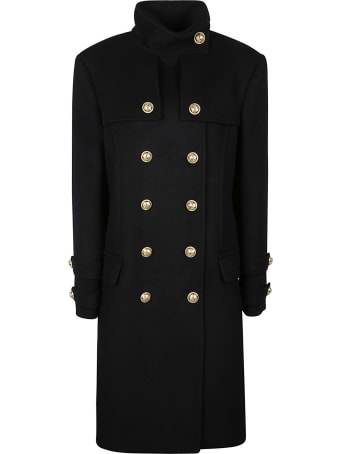 Balmain High-neck Double-breasted Coat