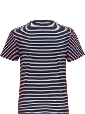 Saint Laurent Striped Monogram T-shirt In Jersey Tie-die