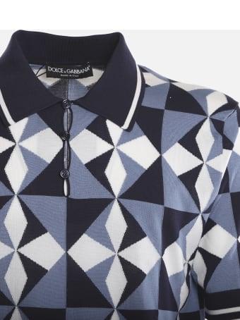 Dolce & Gabbana Silk Polo Shirt With Inlay Majolica Print
