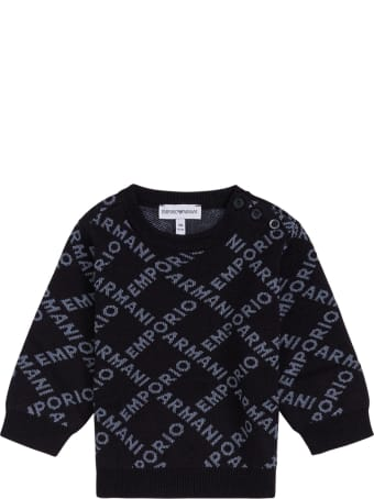 Emporio Armani Wool Blend Sweater With Allover Logo