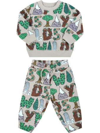 Stella McCartney Kids Green Tracksuit For Baby Kids With Colorful Prints