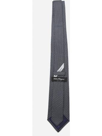 Salvatore Ferragamo Silk Tie With All-over Gancini Print