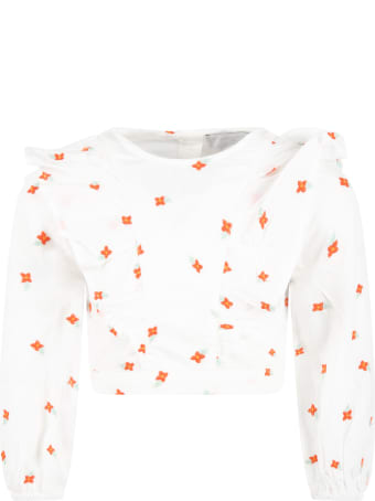 Stella McCartney Kids White Blouse For Girl With Flowers