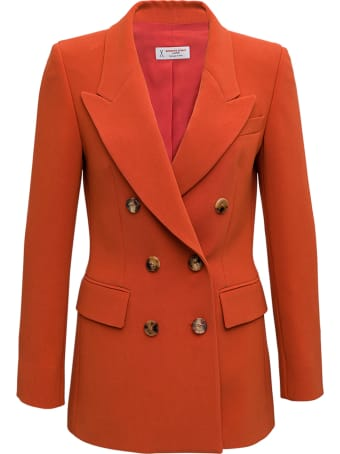 Alberto Biani Double-breasted Jacket In Orange Cady