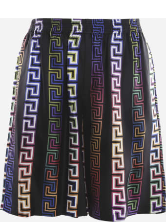 Versace Silk Shorts With All-over Multicolor Greek Print