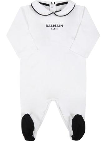 Balmain White Set For Baby Kids With Logo