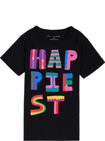 Stella McCartney Kids Black Cotton T-shirt With Multicolor Print