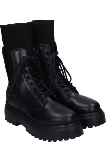 Le Silla Combat Boots In Black Leather
