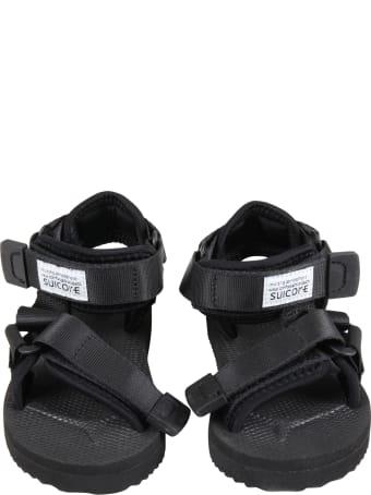 SUICOKE Black Depa Sandals For Kids With Logo