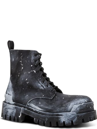 Balenciaga Strike Boots In Painted Effect Nylon