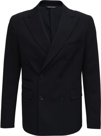 Tonello Double-breasted Black Cotton Blend Jacket