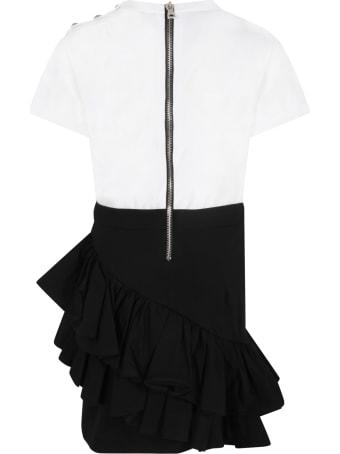 Balmain Multicolor Dress For Girl With Logo