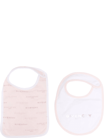 Givenchy White And Pink Baby Bibs Set With Logo
