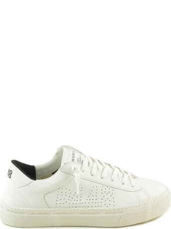 P448 White Leather Perforated Logo Women's Sneakers