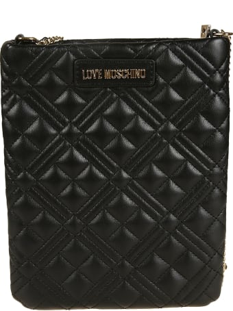 Love Moschino Quilted Logo Plaque Chain Shoulder Bag