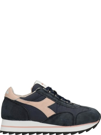 Diadora Equipe Sneakers In Blue Suede And Fabric