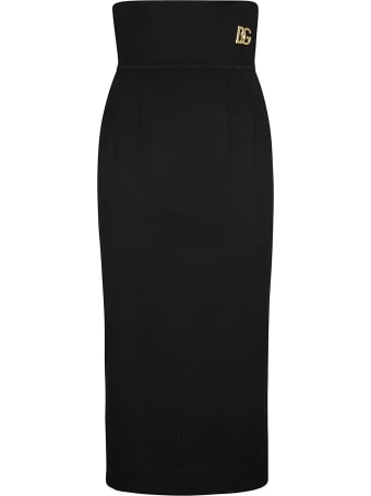 Dolce & Gabbana High-waist Logo Plaque Skirt