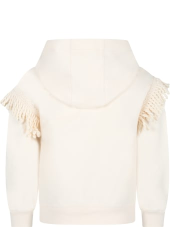 Ermanno Scervino Junior Ivory Sweatshirt For Girl With Logo Patch