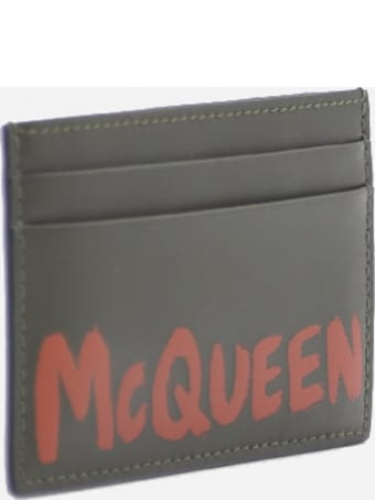 Alexander McQueen Leather Card Holder With Contrasting Logo Print